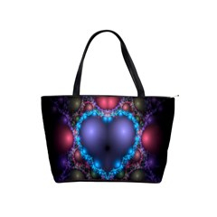 Blue Heart Fractal Image With Help From A Script Shoulder Handbags by Simbadda
