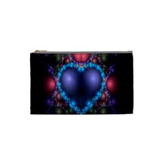 Blue Heart Fractal Image With Help From A Script Cosmetic Bag (small)  by Simbadda