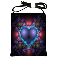 Blue Heart Fractal Image With Help From A Script Shoulder Sling Bags by Simbadda