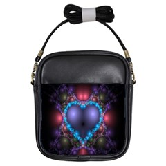 Blue Heart Fractal Image With Help From A Script Girls Sling Bags by Simbadda