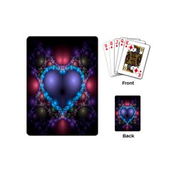 Blue Heart Fractal Image With Help From A Script Playing Cards (mini)  by Simbadda
