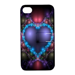 Blue Heart Fractal Image With Help From A Script Apple Iphone 4/4s Hardshell Case With Stand by Simbadda