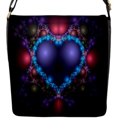 Blue Heart Fractal Image With Help From A Script Flap Messenger Bag (s) by Simbadda