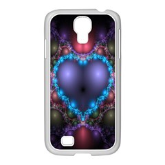 Blue Heart Fractal Image With Help From A Script Samsung Galaxy S4 I9500/ I9505 Case (white) by Simbadda