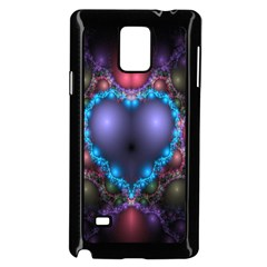 Blue Heart Fractal Image With Help From A Script Samsung Galaxy Note 4 Case (black)