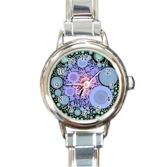 An Abstract Background Consisting Of Pastel Colored Circle Round Italian Charm Watch by Simbadda