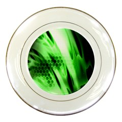Abstract Background Green Porcelain Plates by Simbadda