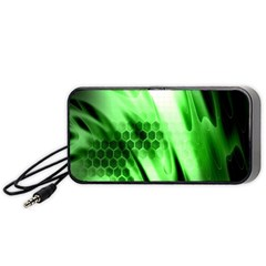 Abstract Background Green Portable Speaker (black) by Simbadda