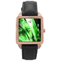 Abstract Background Green Rose Gold Leather Watch