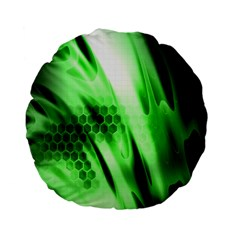 Abstract Background Green Standard 15  Premium Flano Round Cushions by Simbadda