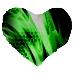 Abstract Background Green Large 19  Premium Flano Heart Shape Cushions by Simbadda