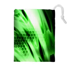 Abstract Background Green Drawstring Pouches (extra Large) by Simbadda