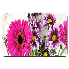 Purple White Flower Bouquet Large Doormat  by Simbadda