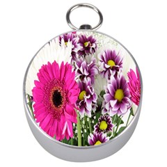 Purple White Flower Bouquet Silver Compasses by Simbadda