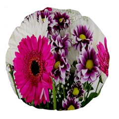 Purple White Flower Bouquet Large 18  Premium Flano Round Cushions