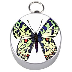A Colorful Butterfly Image Silver Compasses by Simbadda