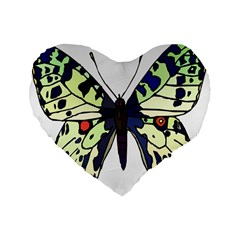 A Colorful Butterfly Image Standard 16  Premium Flano Heart Shape Cushions by Simbadda