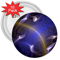 Fractal Magic Flames In 3d Glass Frame 3  Buttons (10 Pack)  by Simbadda