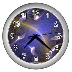Fractal Magic Flames In 3d Glass Frame Wall Clocks (silver)  by Simbadda