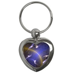 Fractal Magic Flames In 3d Glass Frame Key Chains (heart)  by Simbadda