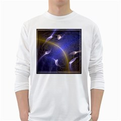 Fractal Magic Flames In 3d Glass Frame White Long Sleeve T Shirts