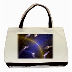 Fractal Magic Flames In 3d Glass Frame Basic Tote Bag (two Sides) by Simbadda