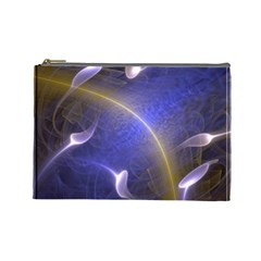 Fractal Magic Flames In 3d Glass Frame Cosmetic Bag (large)