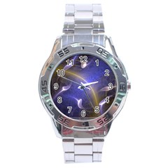 Fractal Magic Flames In 3d Glass Frame Stainless Steel Analogue Watch by Simbadda