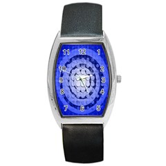 Abstract Background Blue Created With Layers Barrel Style Metal Watch by Simbadda