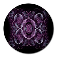 Fractal In Lovely Swirls Of Purple And Blue Round Mousepads by Simbadda