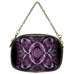 Fractal In Lovely Swirls Of Purple And Blue Chain Purses (two Sides)