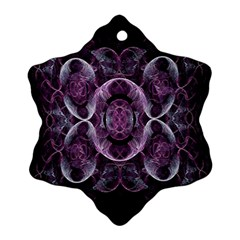 Fractal In Lovely Swirls Of Purple And Blue Snowflake Ornament (two Sides)