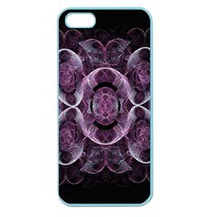 Fractal In Lovely Swirls Of Purple And Blue Apple Seamless Iphone 5 Case (color) by Simbadda