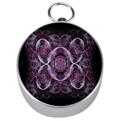 Fractal In Lovely Swirls Of Purple And Blue Silver Compasses by Simbadda