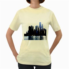 Abstract Of Downtown Chicago Effects Women s Yellow T Shirt