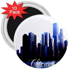 Abstract Of Downtown Chicago Effects 3  Magnets (10 Pack)