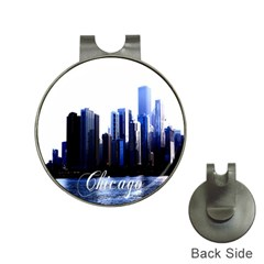Abstract Of Downtown Chicago Effects Hat Clips With Golf Markers