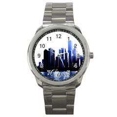 Abstract Of Downtown Chicago Effects Sport Metal Watch