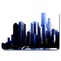 Abstract Of Downtown Chicago Effects Large Doormat  by Simbadda