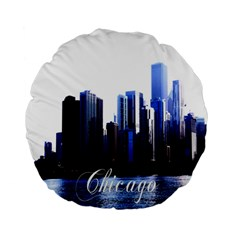 Abstract Of Downtown Chicago Effects Standard 15  Premium Flano Round Cushions by Simbadda