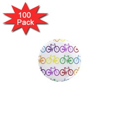 Rainbow Colors Bright Colorful Bicycles Wallpaper Background 1  Mini Magnets (100 Pack)  by Simbadda