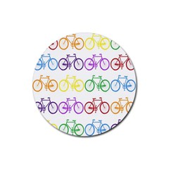 Rainbow Colors Bright Colorful Bicycles Wallpaper Background Rubber Round Coaster (4 Pack)