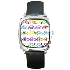 Rainbow Colors Bright Colorful Bicycles Wallpaper Background Square Metal Watch