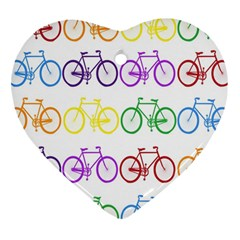 Rainbow Colors Bright Colorful Bicycles Wallpaper Background Heart Ornament (two Sides) by Simbadda