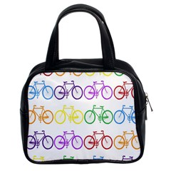 Rainbow Colors Bright Colorful Bicycles Wallpaper Background Classic Handbags (2 Sides)