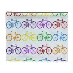 Rainbow Colors Bright Colorful Bicycles Wallpaper Background Cosmetic Bag (xl) by Simbadda