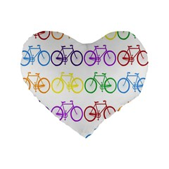 Rainbow Colors Bright Colorful Bicycles Wallpaper Background Standard 16  Premium Heart Shape Cushions