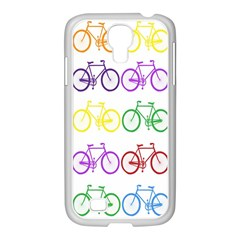 Rainbow Colors Bright Colorful Bicycles Wallpaper Background Samsung Galaxy S4 I9500/ I9505 Case (white)
