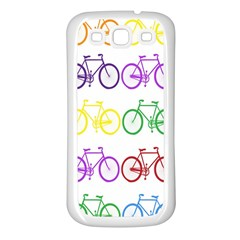 Rainbow Colors Bright Colorful Bicycles Wallpaper Background Samsung Galaxy S3 Back Case (white) by Simbadda