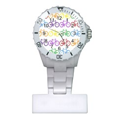 Rainbow Colors Bright Colorful Bicycles Wallpaper Background Plastic Nurses Watch by Simbadda